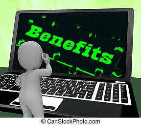 avantages, ordinateur portable, rendre, compensations, projection, 3d