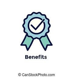 avantages, processus, -, embauche, employé, nouveau, ruban, icône