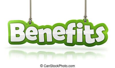 avantages, vert, mot, texte, isolé, blanc, fond