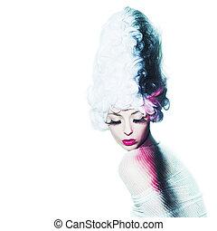 avantgarde, mode, porträt