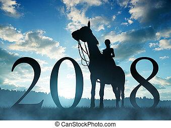 avanti, a, il, anno nuovo, 2018.