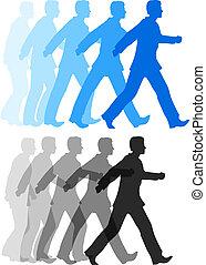 avanti, azione, camminare, uomo affari