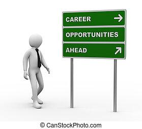 avanti, carriera, opportunità, roadsign, uomo affari, 3d