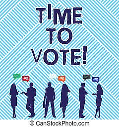 avanti, foto, esposizione, tempo, un po', segno, testo, scegliere, fra, concettuale, candidati, govern., vote., elezione