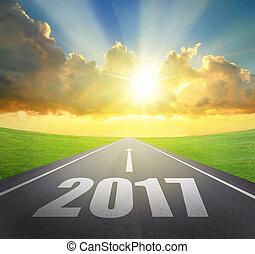 avanti, nuovo, 2017, concetto, anno