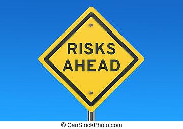 avanti, rischi, segno strada