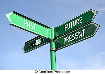 avanti, signpost, futuro, passato, presente