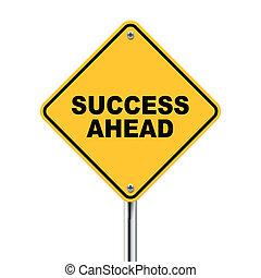 avanti, successo, illustrazione, roadsign, giallo, 3d