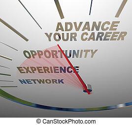avanzamento, aumento, carriera, lavoro, parole, promozione, tachimetro, tuo