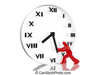 avanzamento, tentando, tempo, figura, orologio
