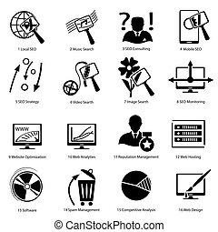 avanzato, disegno, icone, differente