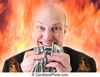 Avarice, businessman with money. man or devil holding dollars in display of greed in hell fire. A Deadly sin