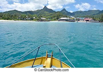 avarua, cidade, rarotonga, cozinhe ilhas, bote, vista