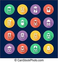avatar, ícones, jogo, 3, apartamento, desenho, círculo