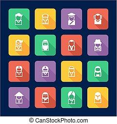 avatar, ícones, jogo, 3, apartamento, desenho