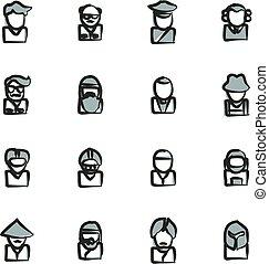 avatar, ícones, jogo, 3, freehand, 2, cor