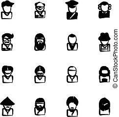 avatar, ícones, jogo, 3, freehand, preencher
