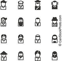 avatar, ícones, jogo, 3