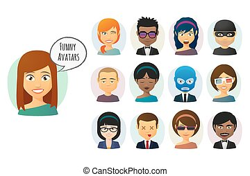 avatar, 漫画, セット, 女性, マレ