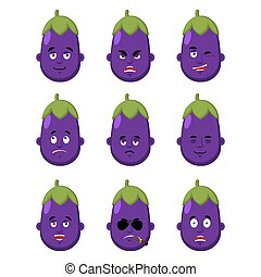 avatar., 紫色, icon., 顔, なす, emoji., 睡眠, ベクトル, 恐れ, 深刻, winks., set., イラスト, 感情, 悲しい, 当惑させている, 悪, 幸せ, 野菜