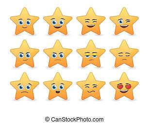 avatar, 表現, セット, 星, かわいい