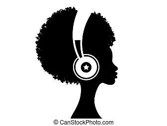 avatar, afro, fond blanc, côté, américain, musicien, musique, profil, jeune, vecteur, woman., illustration, plat, vue., headphones., écoute, africaine, isolé, therapy.