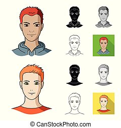 Avatar and face cartoon, black, flat, monochrome, outline icons in set collection for design. A person appearance vector symbol stock web illustration.
