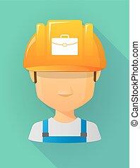 avatar, arbeider, veiligheid, aktentas, helm, vervelend, mannelijke