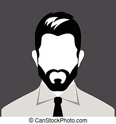 Avatar bearded man. Profile of businessman. Icon employee. Vector illustration.