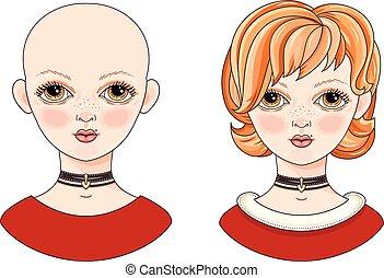 Avatar beautiful redheaded girl. Cartoon style. Kinky and...
