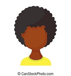 Avatar black woman icon, cartoon style - Avatar black woman ...