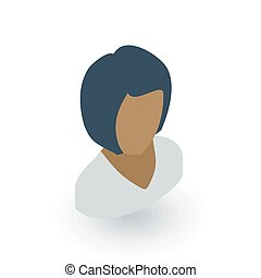 Avatar black woman isometric flat icon. 3d vector