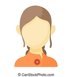 Avatar brown-haired woman icon, cartoon style - Avatar...