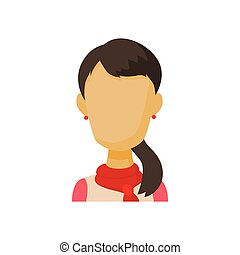 Avatar brunette woman icon, cartoon style