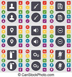 Avatar, Brush, ZIP card, Checkpoint, Sound, Minus, Fire extinguisher, Gear, Microphone icon symbol. A large set of flat, colored buttons for your design. Vector