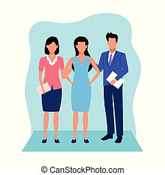 avatar businessman and businesswomen standing, colorful design