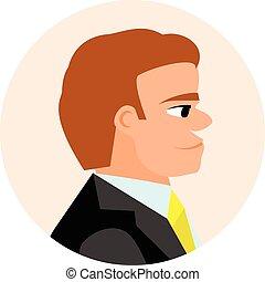 avatar, businessmen., plat, iconen, mensen.