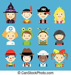 avatar carnival children  sc 1 st  Can Stock Photo & Halloween children avatar. Happy children halloween avatar costume ...