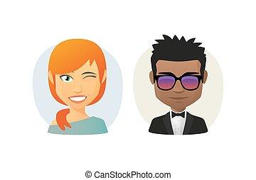 avatar, cartone animato, set, femmina, maschio