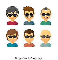 avatar, cartone animato, set, maschio, occhiali da sole