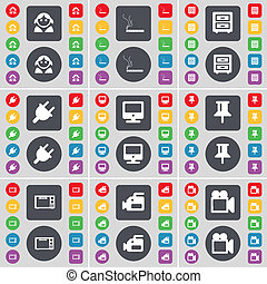 Avatar, Cigarette, Bed-table, Socket, Monitor, Pin, Microwave, Film camera icon symbol. A large set of flat, colored buttons for your design.