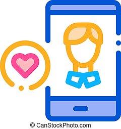avatar, contorno, como, macho, vector, icono, ilustración