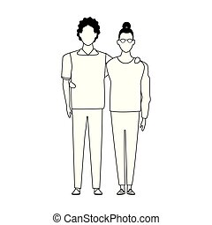 avatar couple icon, black and white design - avatar couple ...