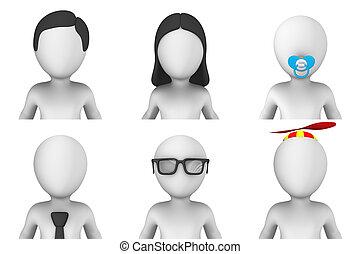 avatar, de, 3d, pequeño, gente