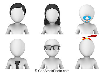 avatar, de, 3d, pequeno, pessoas