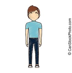 avatar, dessin, debout, coiffure, homme