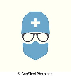 Avatar doctor surgeon in hat and mask. Vector illustration.