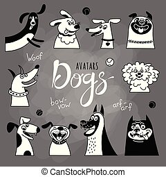 Avatar dogs. Funny lap-dog, happy pug, cheerful mongrels and other breeds.