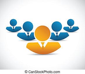 avatar, equipo negocio, ilustración, diseño