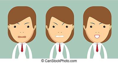 avatar., expression., van een vrouw, meisje, gezichts, emotions., set